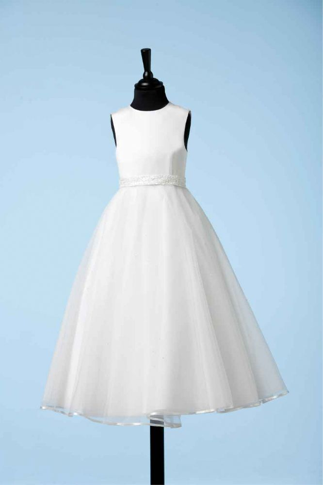 Communion Dress - White Satin, Multi Layer Full Circle Tulle Skirt Crystal Beaded Waistband - Koko - Daireann 80G01740