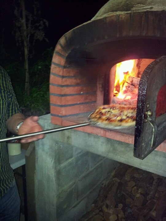 Pizza coming out...delicious :-)  #pizza #oven
