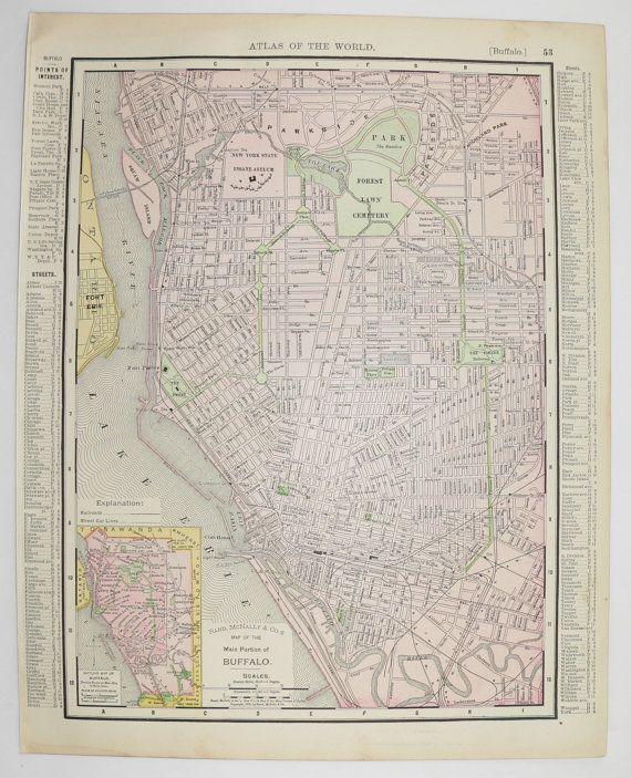 1895 Vintage Map Buffalo NY, New Jersey Map, Antique Art Map, City Street Travel Map, Vintage Decor Gift for Parents, Buffalo NY Map available from OldMapsandPrints.Etsy.com #BuffaloNY #NewJersey #VintageMap