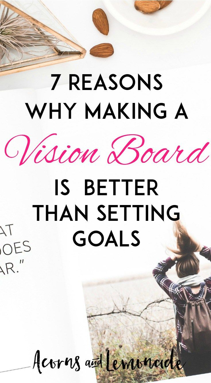Goal setting is great, but vision boards are better. Learn to set goals that you will keep by using a vision board and here are 7 reasons to start today! | Acorns and Lemonade.com