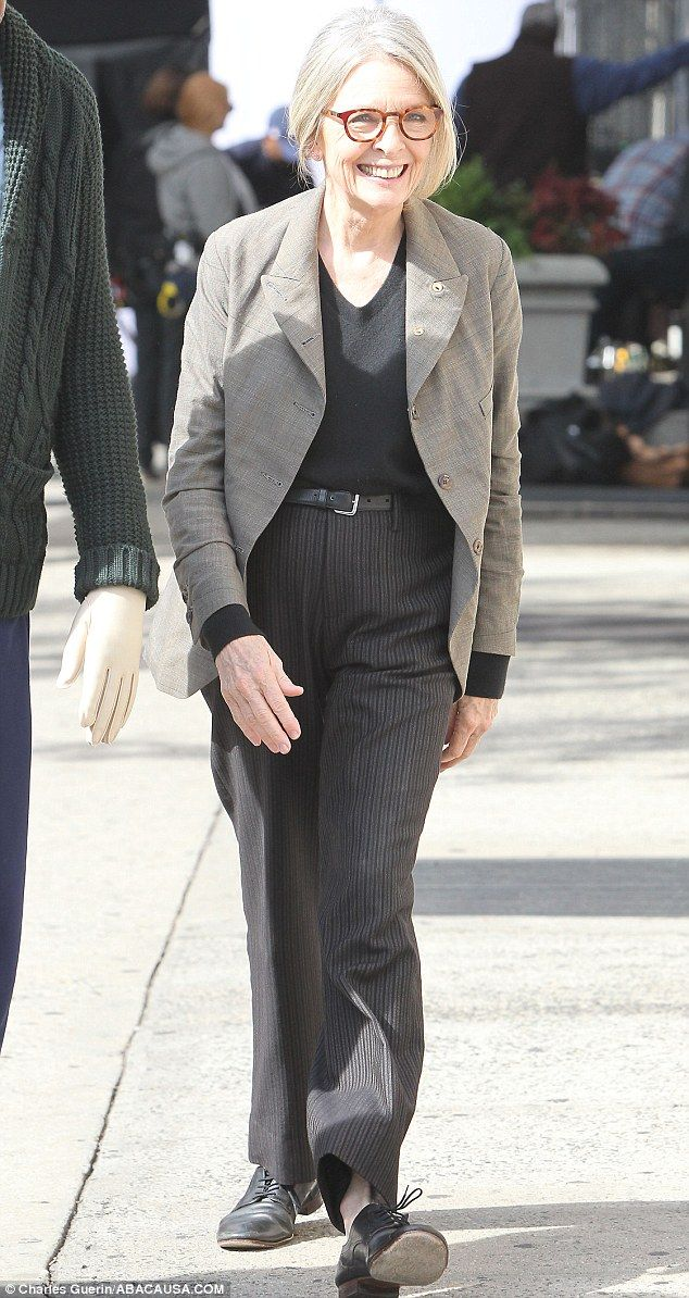 Good hair day: Diane Keaton was spotted in New York filming a scene for her new film, Life Itself, with her once dark hair now a flattering shade of silver grey