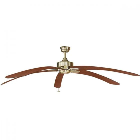 Fanimation Windpointe Extra Large Ceiling Fan Antique Brass with Long Curved Blades