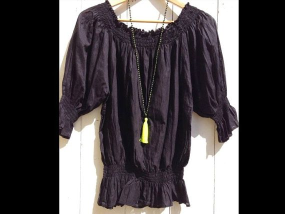 Off the shoulder shirt or top. Cotton black pirate gathered easy to wear fashionable women girl on Etsy, $69.00 AUD