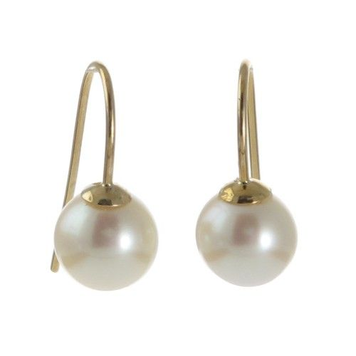 A pair of round white Australian Akoya pearl fixed hook earrings in 9ct yellow gold with pearls measuring 8mm with a good lustre and few natural surface marks. #BrokenBay #Rutherford #Melbourne