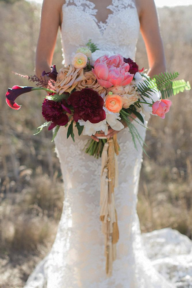 Bohemian chic wedding bouquets are full of whimsical details, wild flowers and feathers. Mixture of multi-colored flowers make stunning bouquets that work beautifully in the woodland setting among the trees. This inspiration gallery of boho bridal bouquets will perfectly complement your vintage wedding dress and hairstyle for a natural bride channeling a boho-chic vibe. Check out these Bouquet Ideas for your nature inspired big day: http://www.weddingforward.com/bohemian-wedding-bouquets