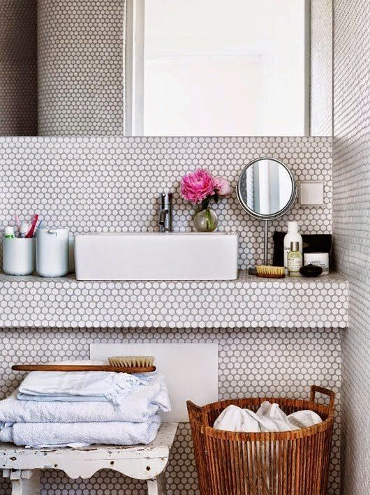 Penny rounds tile--gives a fun vintage yet modern look