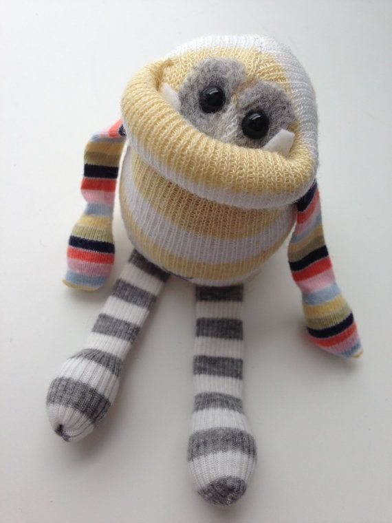 Adopt a Smug Monster itty bitty- plush upcycled toy from sweaters- OOAK from BirdIsTheWordDesign on Etsy