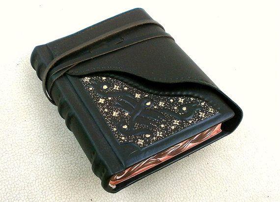 Leather Handbound Journal, Notebook, Relief, Dark Brown Leather, Painted Edges, Gilding