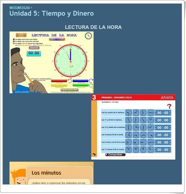 """Unidad 5 de Matemáticas de 3º de Primaria: """"Tiempo y dinero"""""""