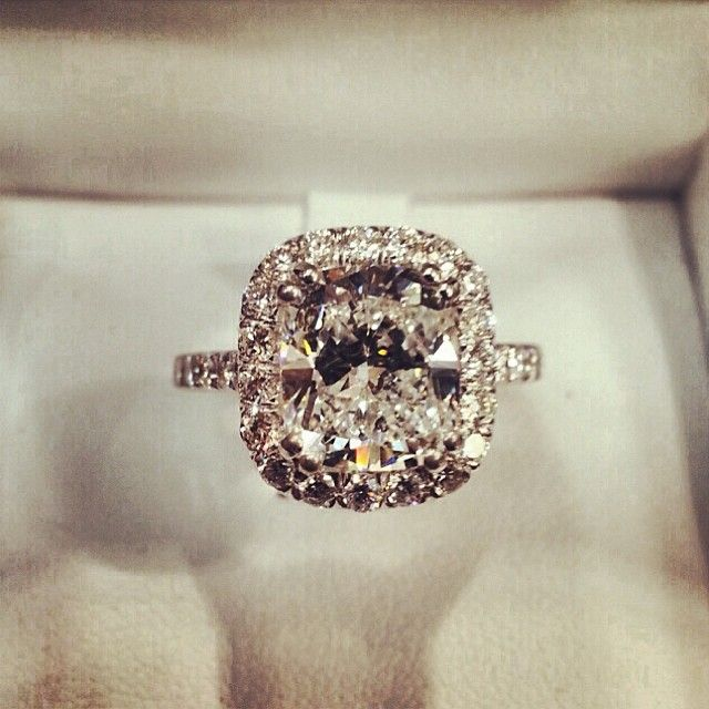 Cushion Cut Halo Engagement Ring with Think Encrusted Band