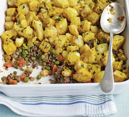 Indian Shepherds Pie. Find it at http://www.bbcgoodfood.com/recipes/1395641/indian-spiced-shepherds-pie