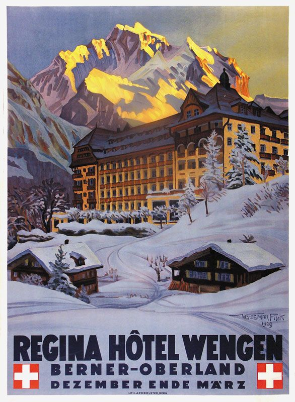 SWITZERLAND LABEL - Waldemar Fink, Regina Hotel Wengen  #Vintage #Travel