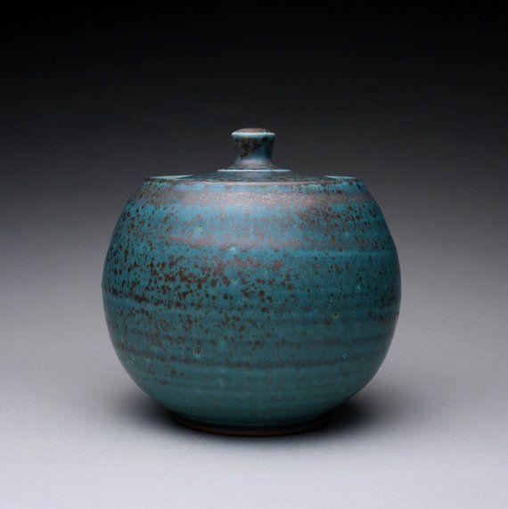 handmade lidded jar sugar bowl with satin green by rmoralespottery, $80.00