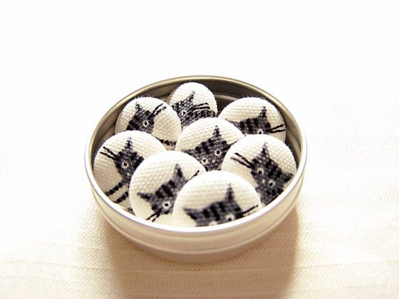 Black/grey/tabby kitten tiny magnet or drawing pin set for
