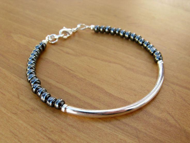 Silver Bangle Bracelet with Glossy Black Seed Beads, Silver Tube Bracelet, Silver Bracelet, Beaded Bracelet – April 22