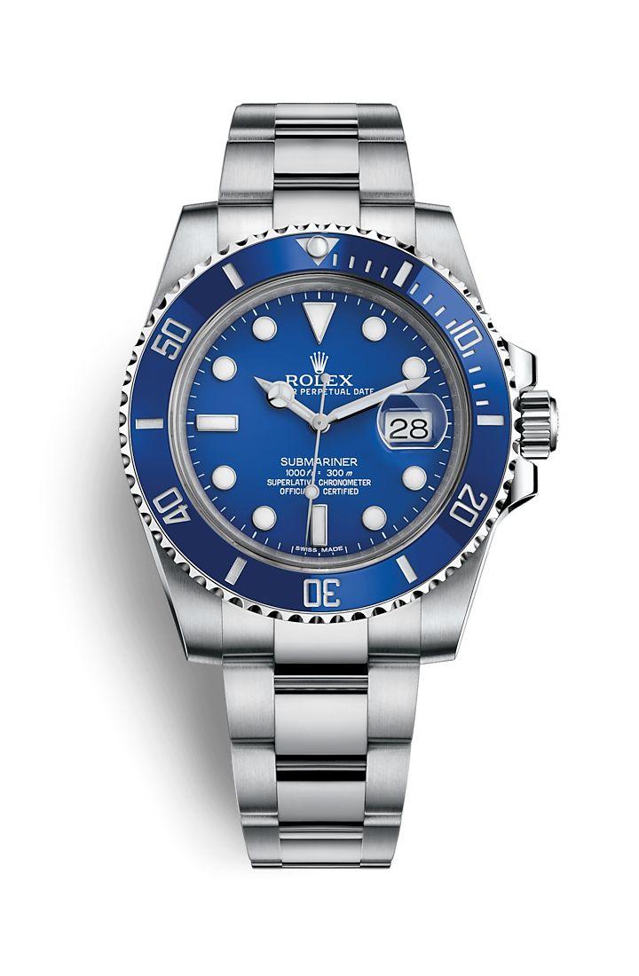 """Rolex Submariner Date Watch: 18 ct white gold """"Smurf"""" REF No. 116619LB"""