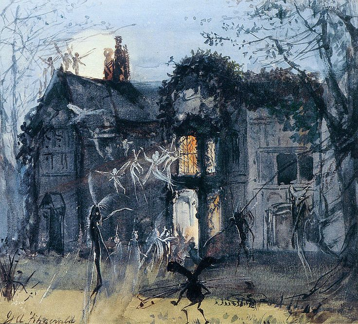 """(Waterhouse Hall, just imagine a moat surrounding.)  The Old Hall, Fairies by Moonlight, by John Anster """"Fairy"""" Fitzgerald"""