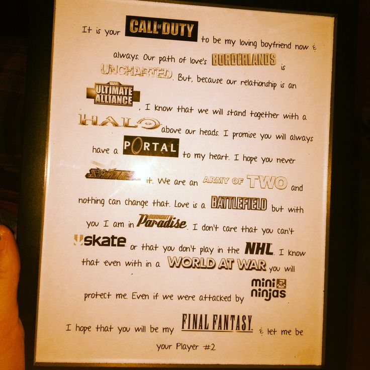I made this for my boyfriend for our anniversary. It's my nerdy video game love letter. :):