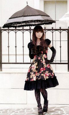Another Lolita style, but it seems more reserved. The floral print is trendy. Could be a nice way to ease into Loli.