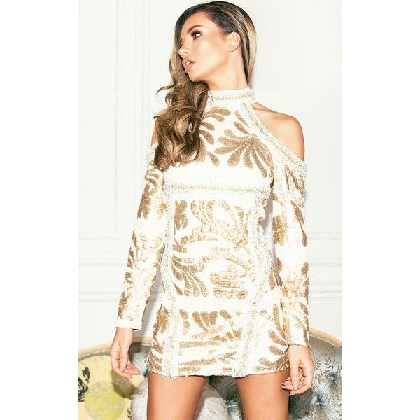 Gold Premium Cold Shoulder Embellished Sequin Bodycon Dress (245 BRL) ❤ liked on Polyvore featuring dresses, yellow, white sequin dress, sequin cocktail dresses, white sequin cocktail dress, white dresses and bodycon cocktail dresses