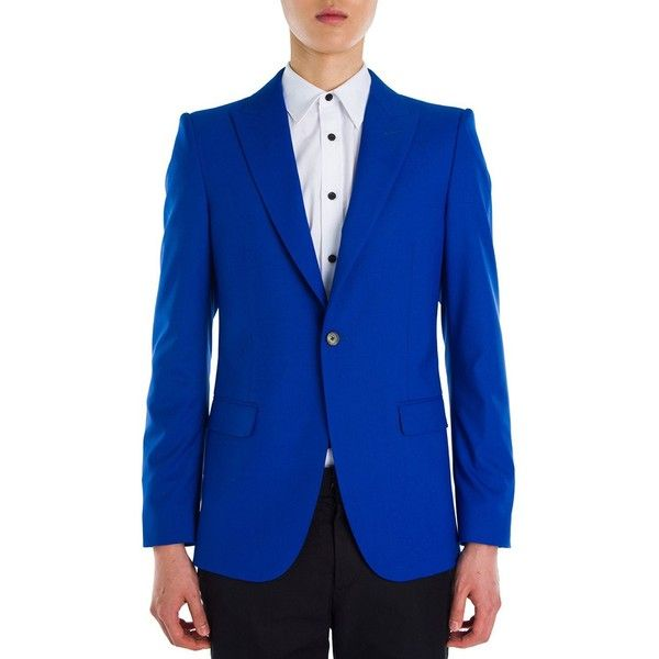 Alexander McQueen Solid Periwinkle Wool & Silk Jacket ($658) ❤ liked on Polyvore featuring men's fashion, men's clothing, men's outerwear, men's jackets, men's sherpa lined jacket, mens silk jacket, mens wool jacket and mens wool lined jacket