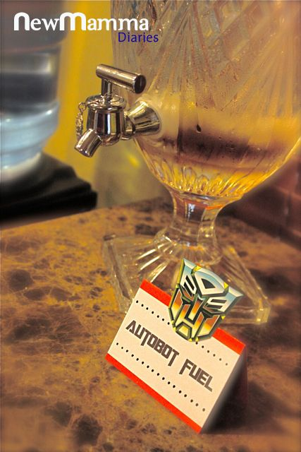 """""""Autobot fuel"""" Haha, great idea for a transformers party (probably not in such a pretty dispenser though)"""
