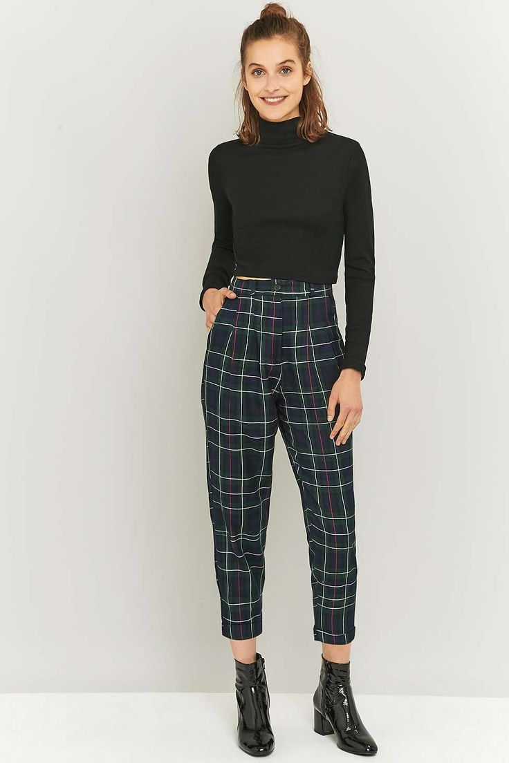 Urban Renewal Vintage Remnants Forest Green Checked Trousers - Urban Outfitters