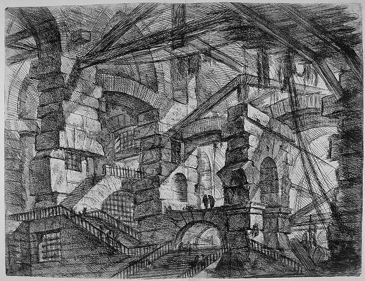 Fantastic|Title	[labyrinthine dungeon] Medium	metal engraving Book	Gio. Batista Piranesi. Opere Varie di Architettura Prospettive Grotteschi Antichita Sul Gusto Degli Antichi Romani. n.c. : n.p., 1750. Notes	Piranesi Theme	Fantastic Space Subjects	architecture