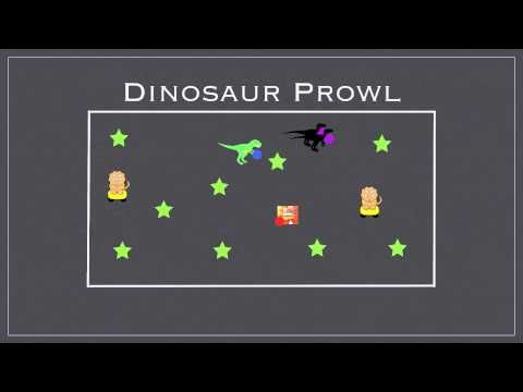 Gym Games - Dinosaur Prowl - T rex - tags people by touching with ball Dilophosaurus - tags by throwing ball 2 Velociraptors - hold hands and a ball each - tag together 2 Stegorsauruses - free people who are tagged