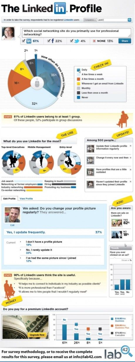 This infographic illustrates a survey of 500 Americans and analyzes their LinkedIn usage.