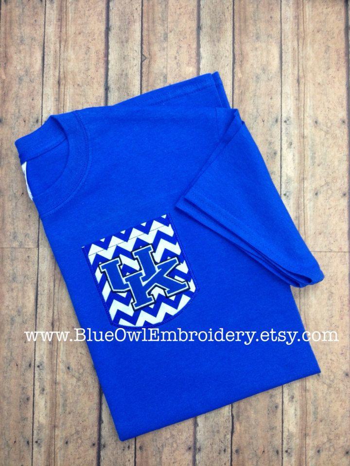 University of Kentucky blue custom pocket tee by BlueOwlEmbroidery, $22.00