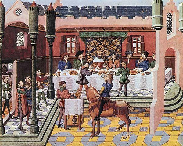 Royal banquet. From Jean Wauquelin's Chroniques d'Alexandre, mid 15 C (Bruges). BnF MS Français 9342 fol. 13. Bibliothèque nationale, Paris