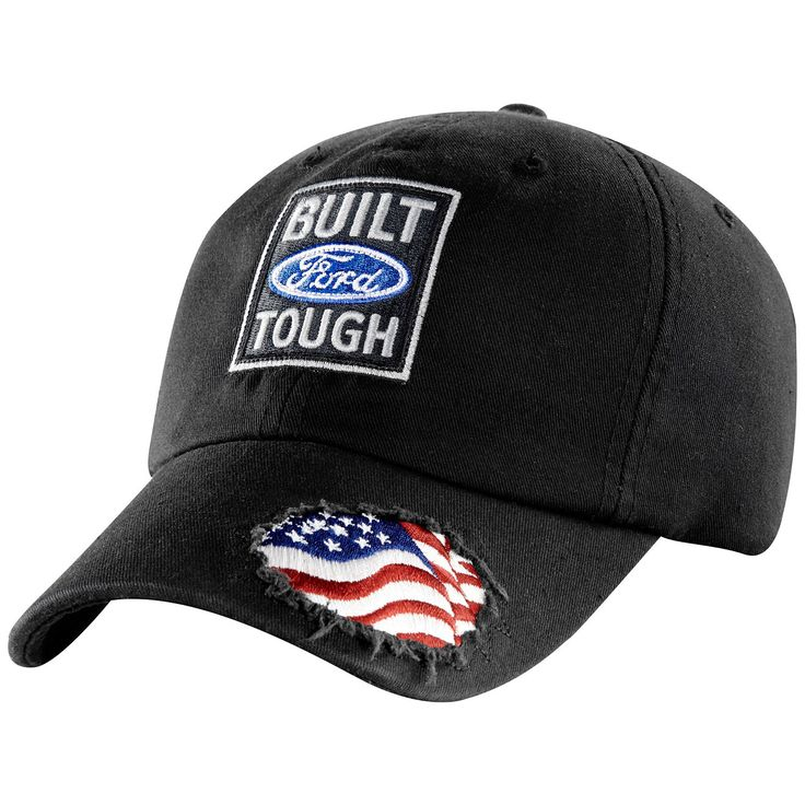 Built Ford Tough American Flag Black Cap , Patriotic design features American flag visible through ripped visor fabric. Unstructured black cotton body is garment washed for softness. Adjustable cloth back strap.