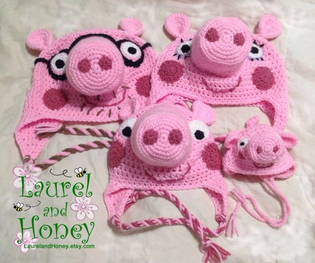 Peppa, George, Mummy, and Daddy Pigs. Family Halloween costume hats!