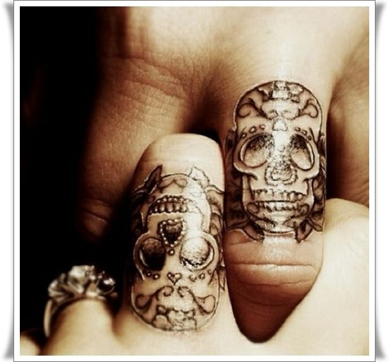 Sugar Skull Finger Tattoo Designs and I love that ring