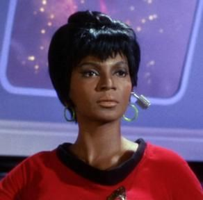 """Nyota Uhura served as communications officer aboard the USS Enterprise under the command of James T. Kirk for nearly thirty years, after which she continued her career lecturing at Starfleet Academy. (TOS: """"The Corbomite Maneuver""""; Star Trek VI: The Undiscovered Country)..."""