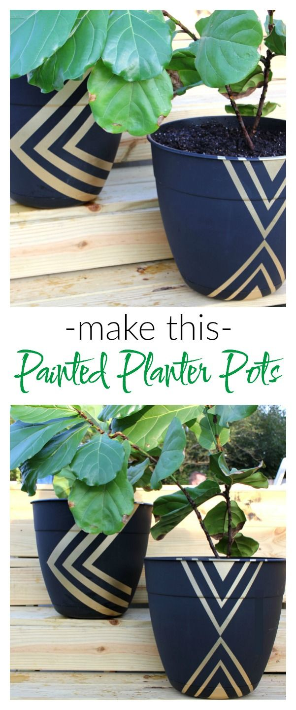 *inspiration idea   Instead of paying $50 on a planter pot, buy a cheap one and dress it up with spray paint! Easy Painted Planter Pots | Gardening | Fiddle Leaf Fig | Geometric | Painting Patterns