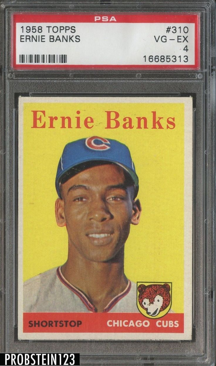1958 topps 310 ernie banks chicago cubs hof psa 4 vgex