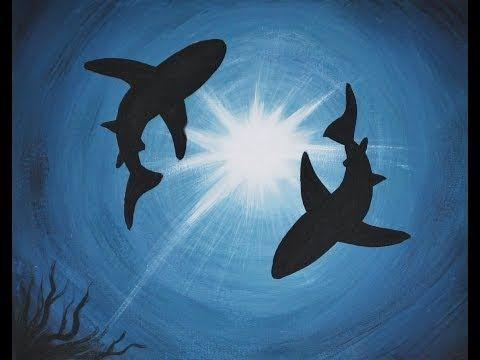 ▶ Acrylic Painting on Canvas : Shark Infestation - YouTube