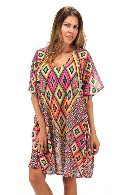 4giveness - Costumi da bagno - Abbigliamento - Kimono in viscosa stampata ethnic optical con scollo a V. Stampa animalier su retro. - AZTEC - € 90.00