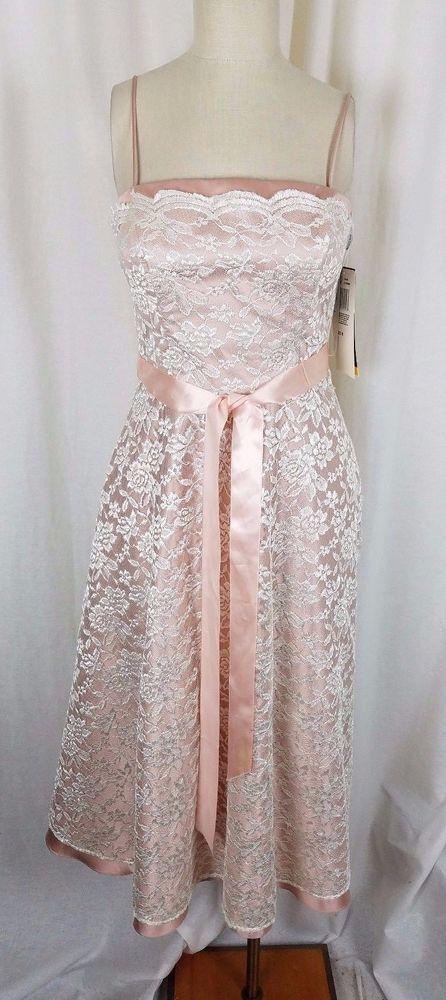 Vintage Nightway NWT Ivy Pink Lace Maxi Dress Formal Cocktail Prom Womens 6 USA #Nightway #1980s1990sWideRibbonTieSashWaistLongMaxiMidiLength #Formal