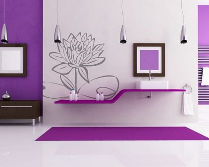 Elegant Abstract Gray Flowers Wall Stickers Murals for Purple Living Room Wall Decorating Design Ideas