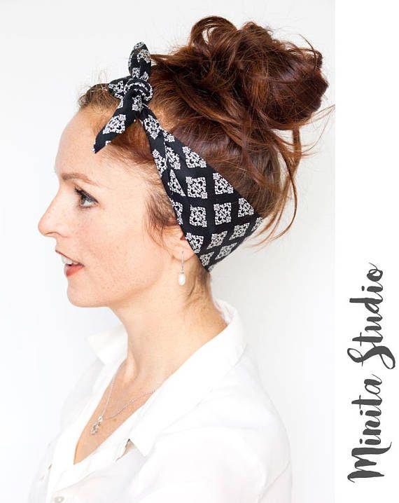 Black Headband  Tie up Headband  Black Hair Scarf Black