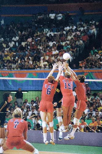 #15 Karch Kiraly USA 84' olympics team- Look at the perfect block by all three team members... now that is how you play volleyball right there! xoxo