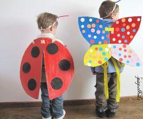 Coccinelle et Papillon de Carnaval, avec de simples ailes en carton. Alles voir le papelhilo-blog : ça déborde d'idées simples et géniales.