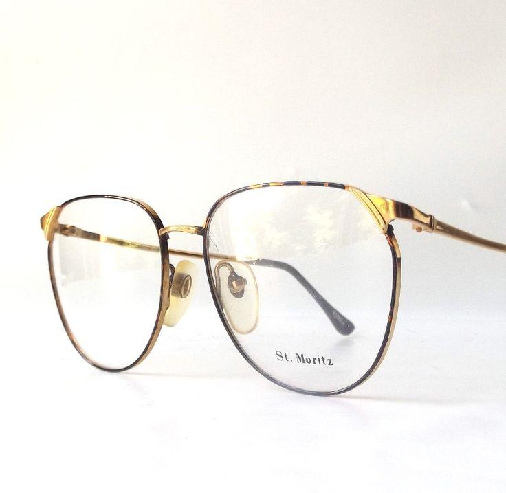 vintage 1980's NOS st moritz round eyeglasses gold metal tortoise shell enamel frame prescription eyewear retro eye glasses modern oversized by RecycleBuyVintage on Etsy
