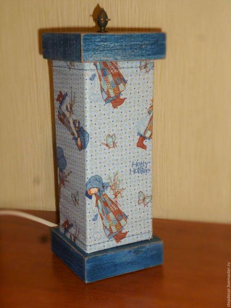 """Купить Светильник/ночник """"Holly Hobbie"""" для детской - синий, ночник, светильник, светильник ручной работы"""