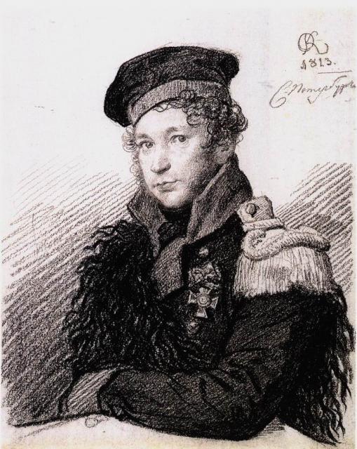 Кипренский О.А. Портрет А. Р. Томилова (в форме ополченца). 1813.  ГРМ