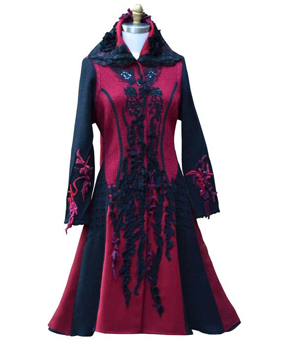 Long sweater COAT OOAK boho art to wear Victorian fantasy