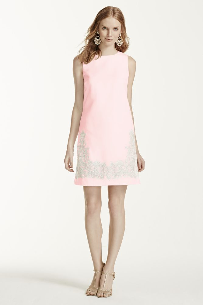 Short Faille Shift Bridesmaid Dress with Lace Appliques - Petal (Pink), 12